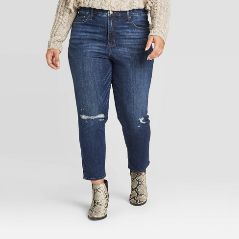 Women's High-Rise Cropped Distressed Straight Jeans - Universal Thread™ Dark Wash - image 1 of 3