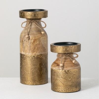 "Sullivans Set of 2 Pillar Candle Holder 10""H & 6""H Gold"