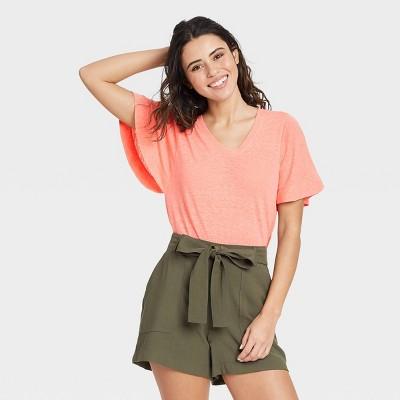 Women's Flutter Short Sleeve Scoop Neck Linen T-Shirt - A New Day™