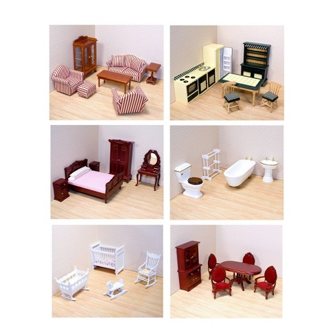 Melissa Doug Classic Victorian Wooden And Upholstered Dollhouse Furniture 35pc