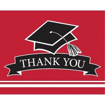 50ct Graduation School Thank You Notes Spirit Red