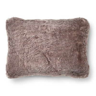 Gray Faux Fur Oblong Throw Pillow (14 x20 )- Threshold™