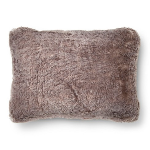 "Gray Faux Fur Oblong Throw Pillow (14""x20"") - Threshold™ - image 1 of 1"