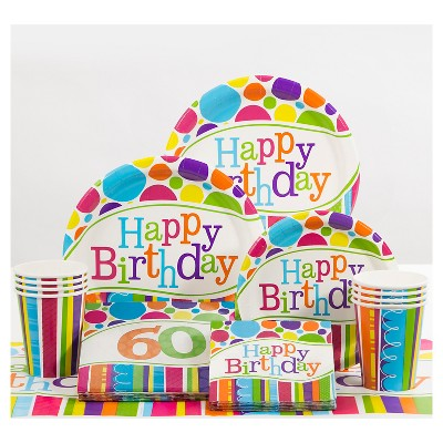 Bright /& Bold 60th Birthday Candle Party Decoration