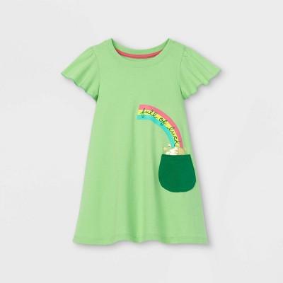 Toddler Girls' 'Full Of Luck' Short Sleeve Dress - Cat & Jack™ Green