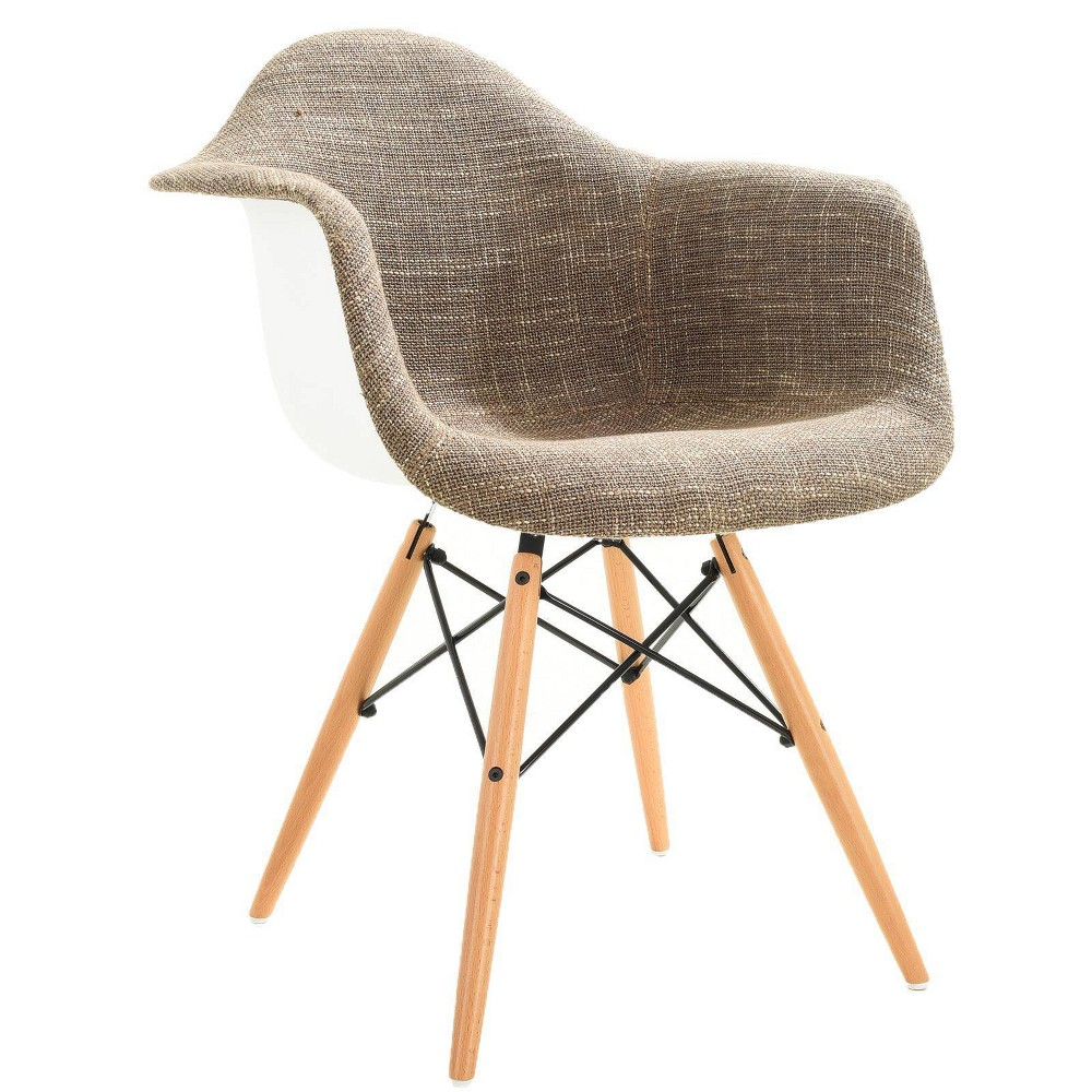 Image of Bianca Mid Century Padded Arm Chair with Natural Base Taupe - Edgemod