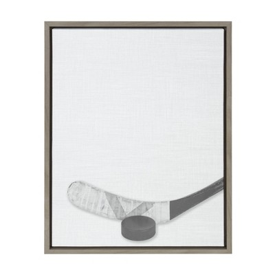 "18"" x 24"" Sylvie Hockey Stick and Puck Framed Canvas Gray - DesignOvation"