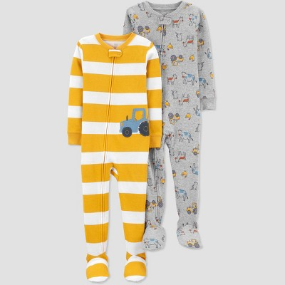 Toddler Boys' 2pk Tractor Footed Pajama - Just One You® made by carter's Yellow