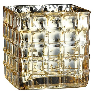 Glass Candleholder Gold - Diamond Star