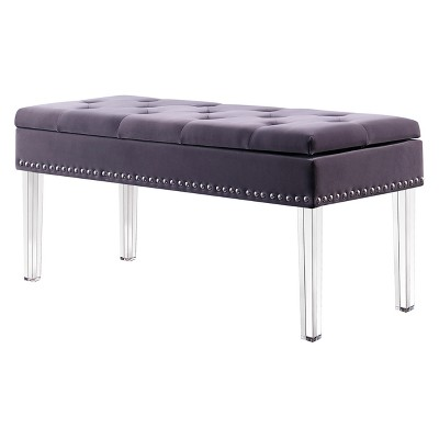 Mid-Century Tufted Storage Bench With Nail Head Trim - Ore International