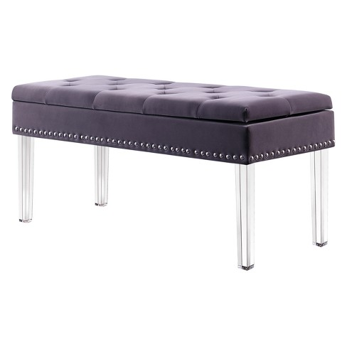 Mid Century Tufted Storage Bench With Nail Head Trim Ore International