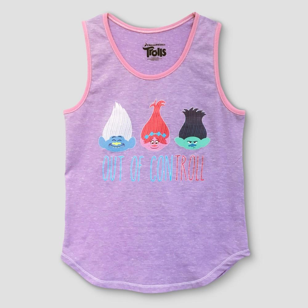 Girls' Trolls Tank Top - Purple M