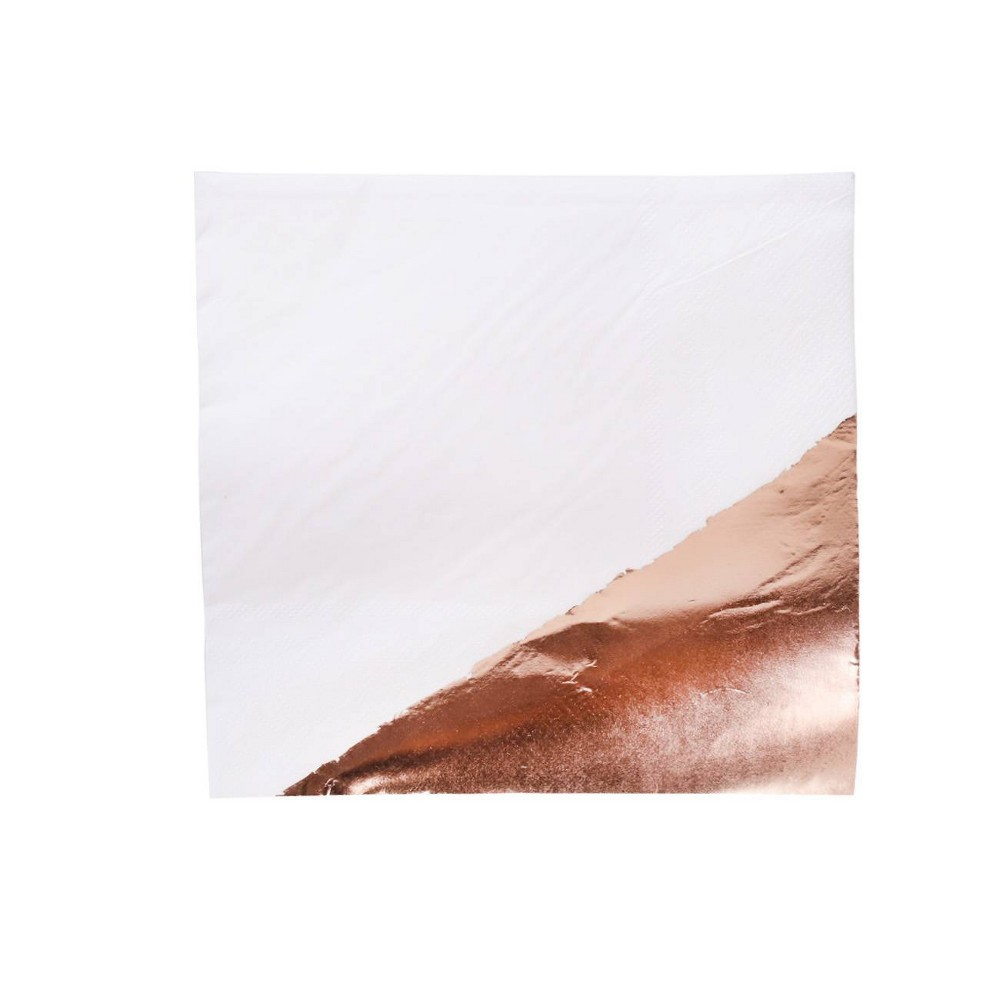 Image of 30ct Foil Lunch Napkin Rose Gold/White - Spritz
