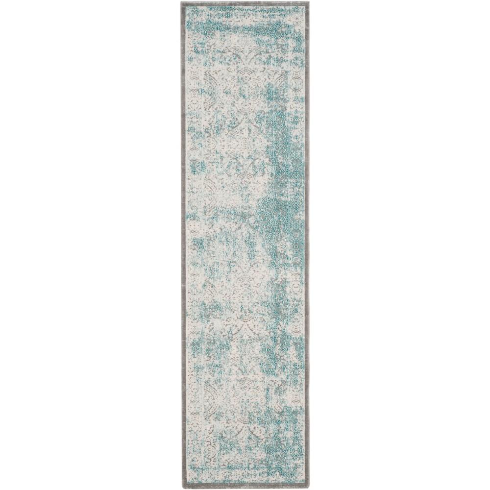 2'2X12' Medallion Loomed Runner Turquoise/Ivory - Safavieh
