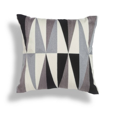 """18""""x18"""" Onyx Crewel Embroidered Square Throw Pillow Black/White - Sure Fit"""
