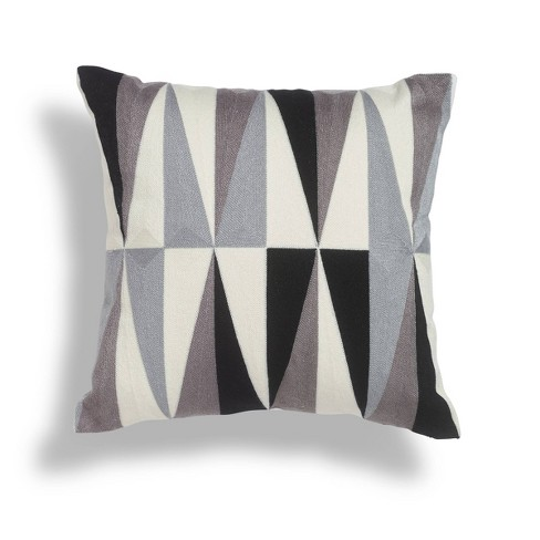 18 X18 Onyx Crewel Embroidered Square Throw Pillow Black White Sure Fit Target
