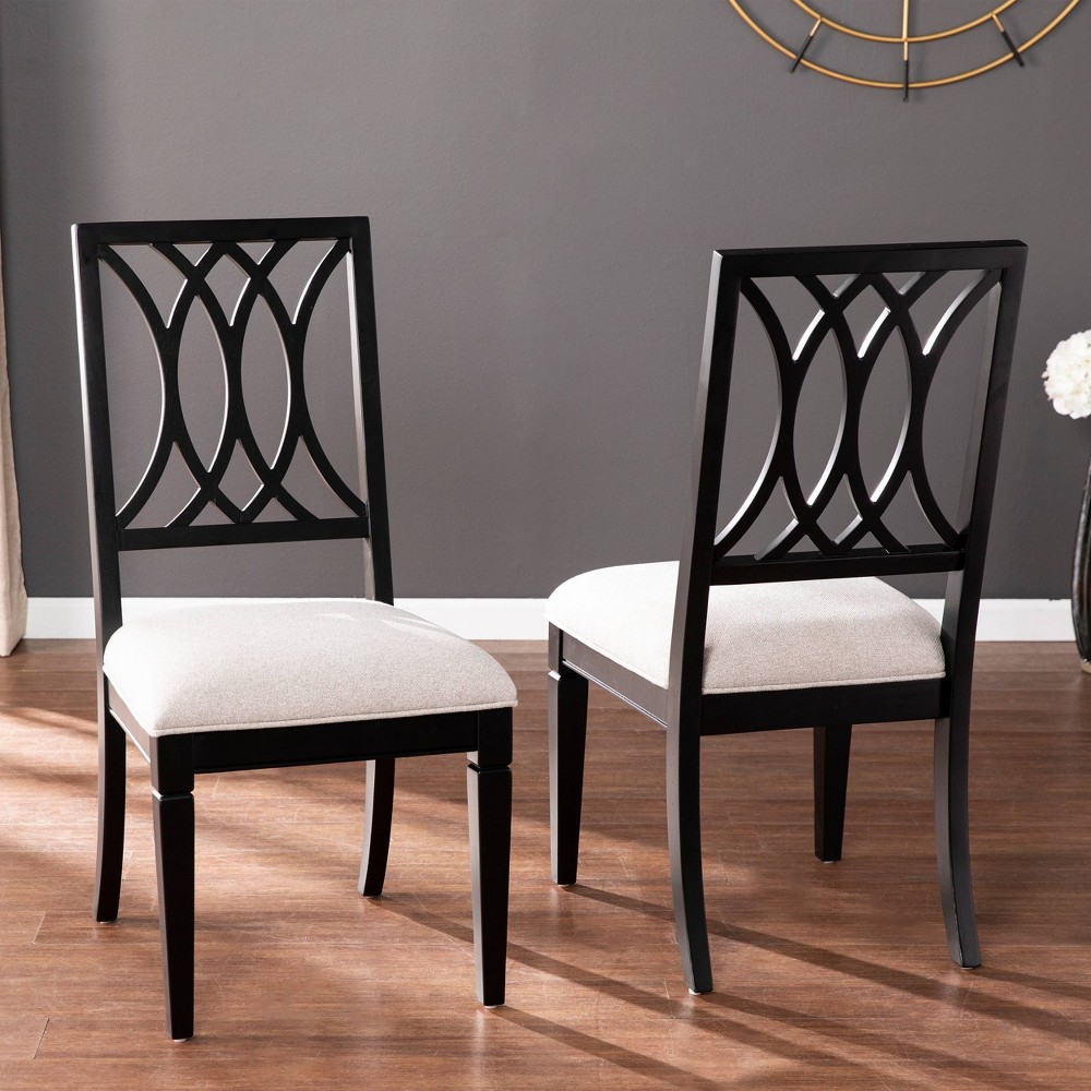 Discounts Set of 2 Lomree Upholstered Dining Chairs Black/Gray - Aiden Lane