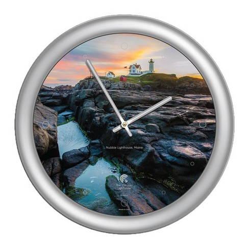 """14"""" x 1.8"""" Nuble Lighthouse Quartz Movement Decorative Wall Clock Silver Frame - By Chicago Lighthouse - image 1 of 3"""