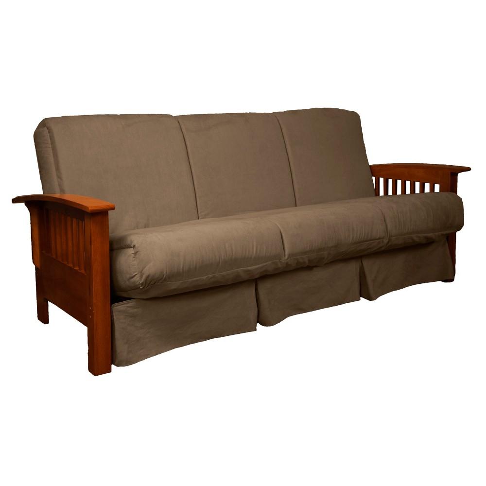 Craftsman Perfect Futon Sofa Sleeper Walnut Wood Finish Pecan - Epic Furnishings