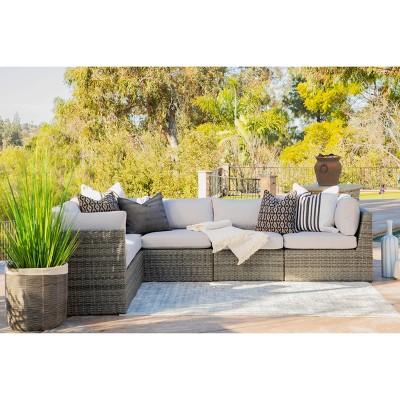 Santa Fe 6pc Outdoor Rattan Sectional Patio Set - Gray - Coaster