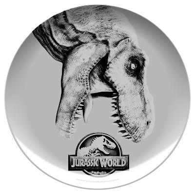 Jurassic World 10  Melamine Kids Dinner Plate Gray/Black - Zak Designs
