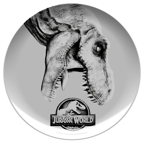 "Jurassic World 10"" Melamine Kids Dinner Plate Gray/Black - Zak Designs - image 1 of 1"