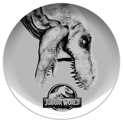 """Jurassic World 10"""" Melamine Kids Dinner Plate Gray/Black - Zak Designs - image 1 of 1"""