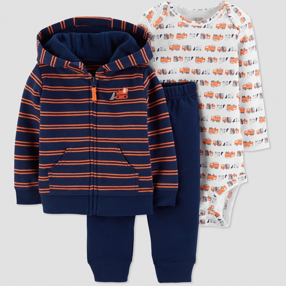 Baby Boys' 3pc Tractor Cardigan Set - Just One You made by carter's Red 12M