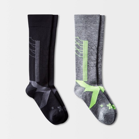 Women's Active Stripe Compression 2pk Knee High Athletic Socks - All In  Motion™ - Gray/Black 4-10 : Target
