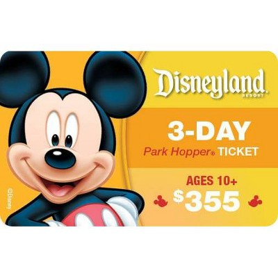 Disneyland California 3 Day Park Hopper $355(Ages 10 and above)