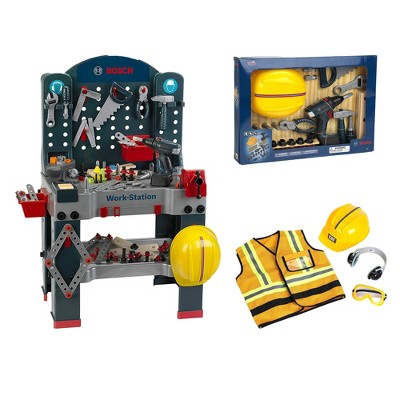 Theo Klein Bosch Workbench Premium DIY Children's Toy Toolset Kit with Extra Tools and Caterpillar Costume Set for Kids Ages 3 Years Old and Up
