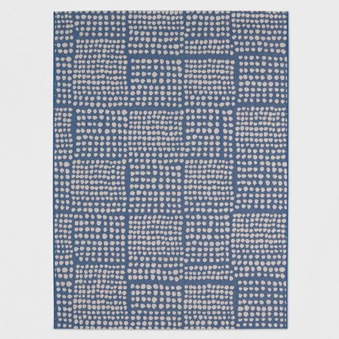 8 X 10 Dot Grid Outdoor Rug Blue