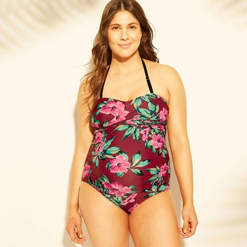 cea67ca4f8b Maternity Floral Print Sleeveless Tropical Bandeau One Piece Swimsuit -  Isabel Maternity By Ingrid & Isabel™ Burgundy : Target