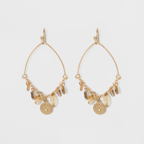Discs Beads And Charms On Delicate Drop Earrings Universal Thread Gold