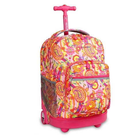 "J World 18"" Sunrise Rolling Backpack - Pink Paisley - image 1 of 2"