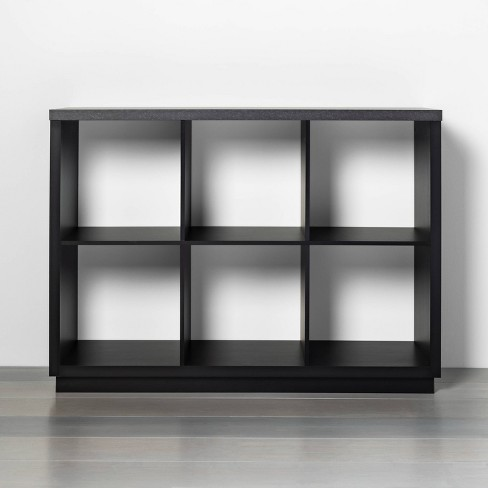 6 Cube Storage Organizer with Faux Stone Surface Top Black - Threshold™ - image 1 of 4