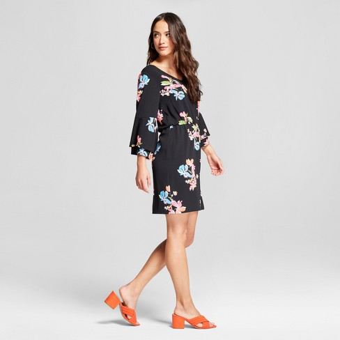 Womens Floral Tiered Bell Sleeve Dress A New Day Black Multi