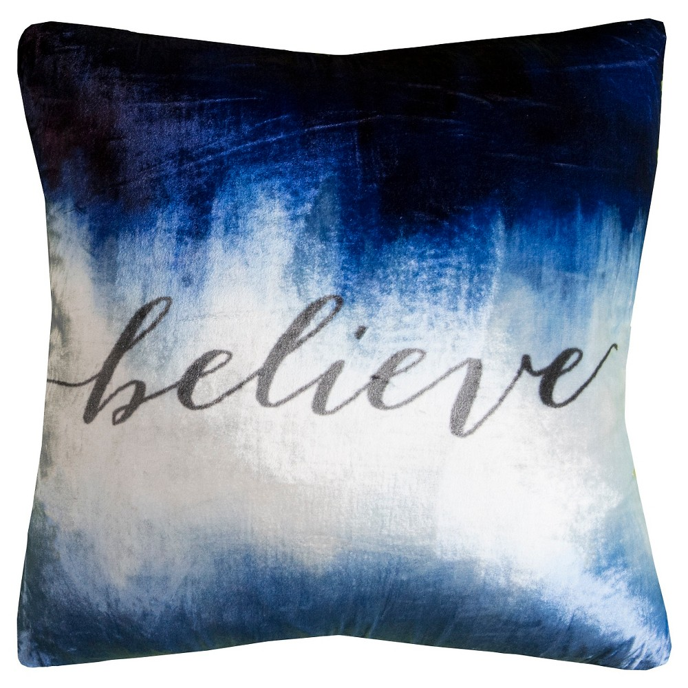 Image of Blue/White Believe Throw Pillow - (20x20) - Rizzy Home