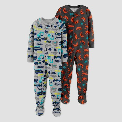 Baby Boys' Crabs/Trucks Footed Pajama - Just One You® made by carter's Gray 12M
