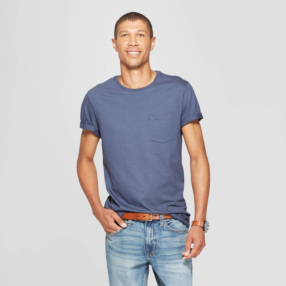 Men's Standard Fit Short Sleeve Elevated Ultra - Soft Crew Neck T-Shirt - Goodfellow & Co Subdued Blue S