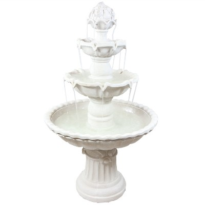 "Sunnydaze 52H Electric Fiberglass 4-Tier Fruit Top Outdoor Water Fountain, White Finish"""