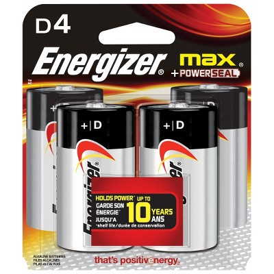 Energizer MAX D 4-pk. Alkaline Top Batteries