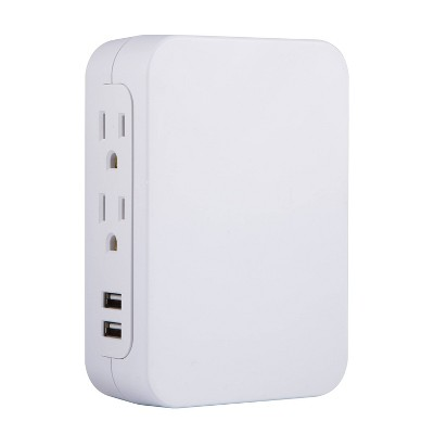 General Electric 5-Outlet Surge Tap with USB 560J 2 Ports 2.4A Side Access White