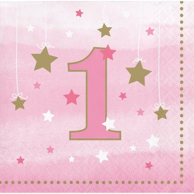 48ct One Little Star Girl 1st Birthday Beverage Napkins Pink