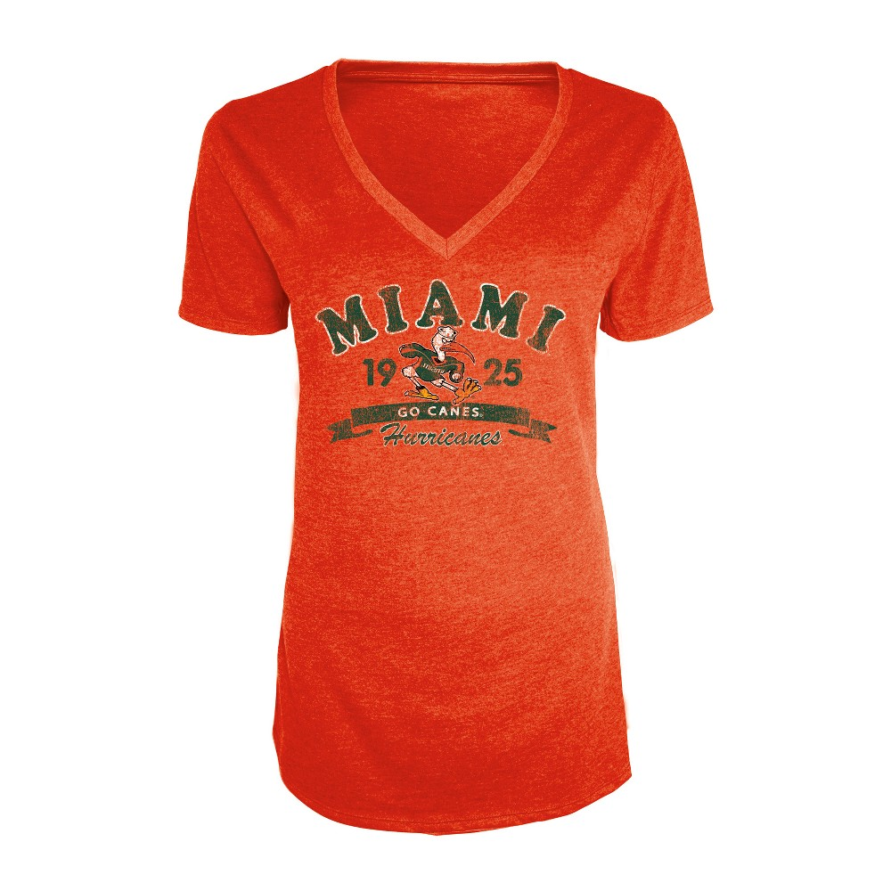 Miami Hurricanes Women's Short Sleeve Heathered V-Neck T-Shirt - M, Multicolored