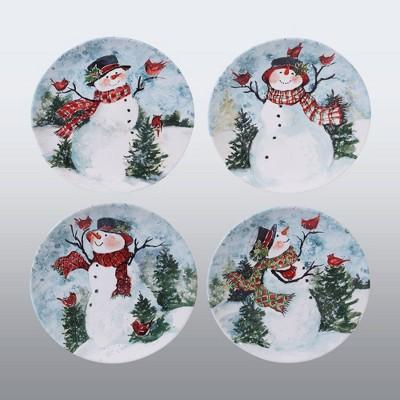 """11"""" 4pk Earthenware Watercolor Snowman Dinner Plates - Certified International"""