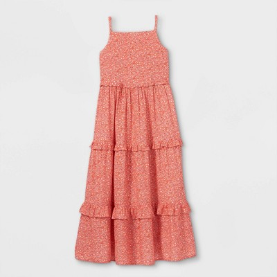 Girls' Floral Tiered Maxi Dress - Cat & Jack™ Red