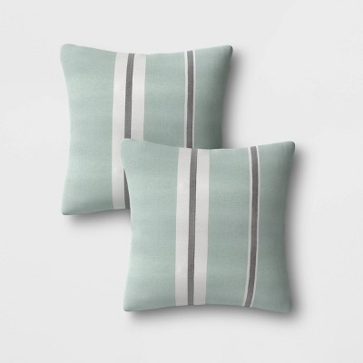 2pk Outdoor Throw Pillows DuraSeason Fabric™ Aqua - Threshold™