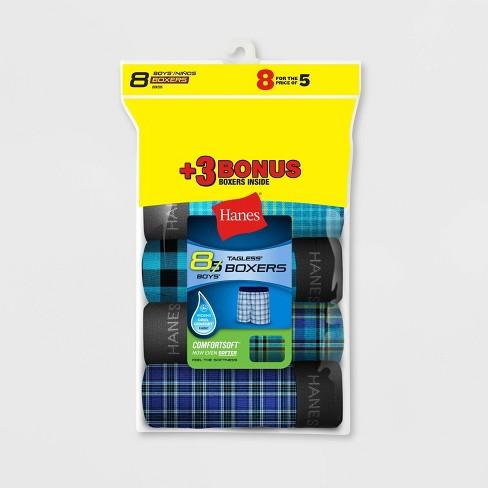Hanes Boys' Boxer Shorts 5+3 Bonus Pack - Colors Vary - image 1 of 1