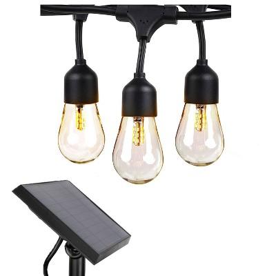 Brightech SLR-48HG-SW Weatherproof Solar Powered 1 Watt LED Outdoor 48 Feet Edison Vintage Italian Cafe Bistro Patio String Lights w/ 15 White Bulbs